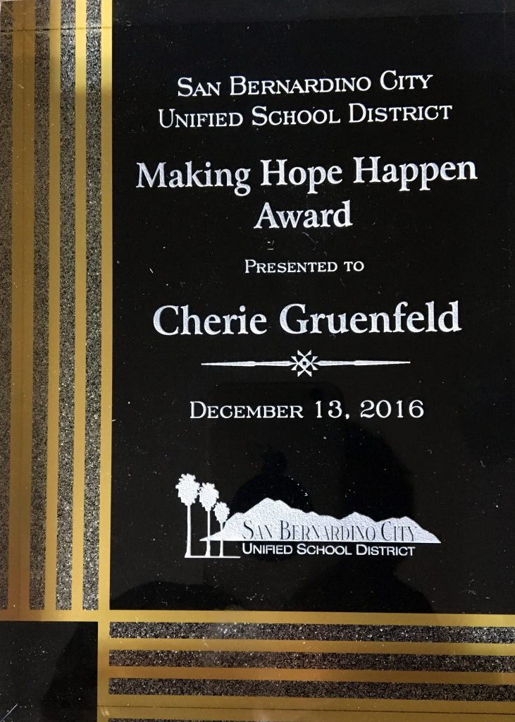 Cherie-SBD-School-District-Making-Hope-Happen-award