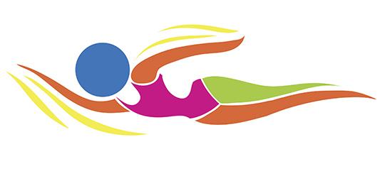 Sport icon design for swimming in color illustration